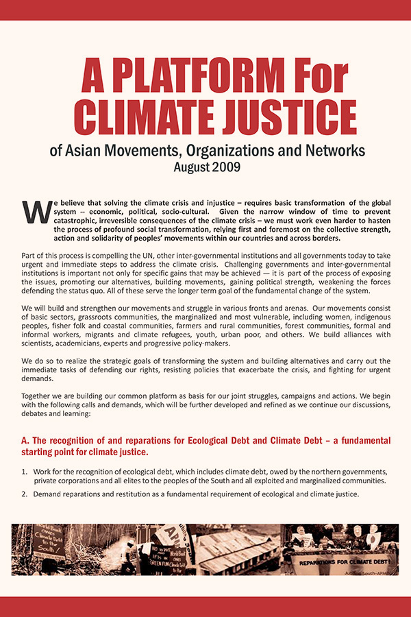 A Platform for Climate Justice of Asian Movements, Organizations and Networks