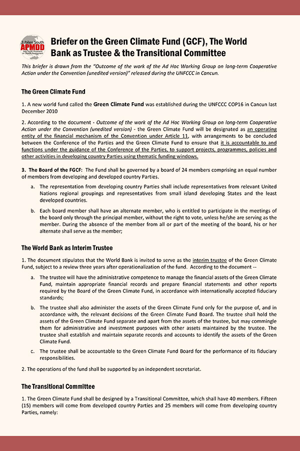 Briefer on the Green Climate Fund (GCF), The World Bank as Trustee and the Transitional Committee