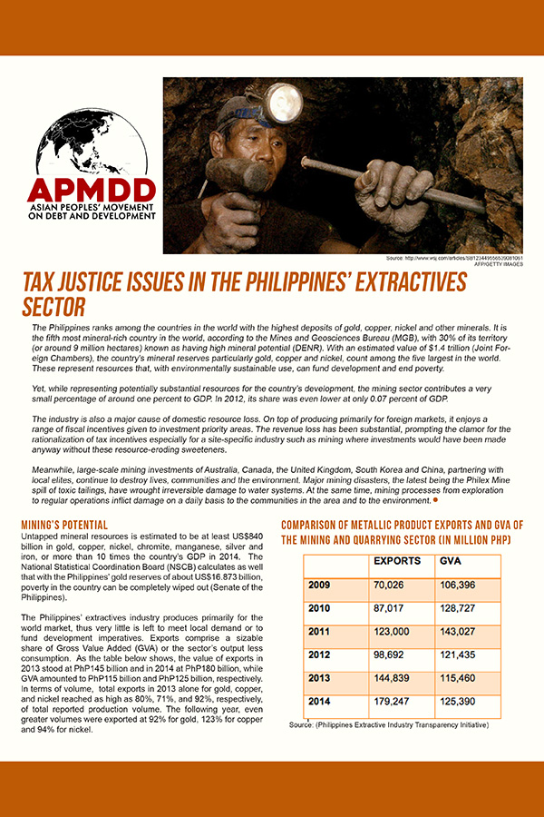 Tax Justice Issues in the Philippines' Extractives Sector