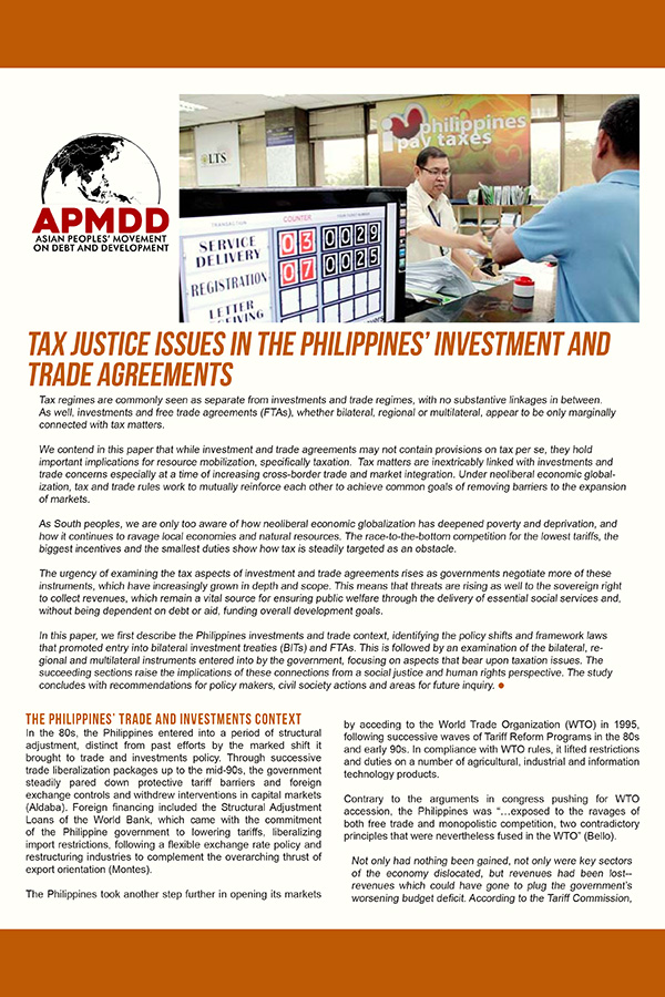 Tax Justice Issues in the Philippines' Investment and Trade Agreements