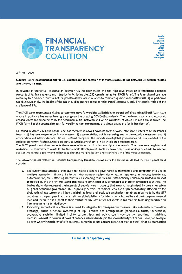 FTC Letter to G77 countries for FACTI member states consultation