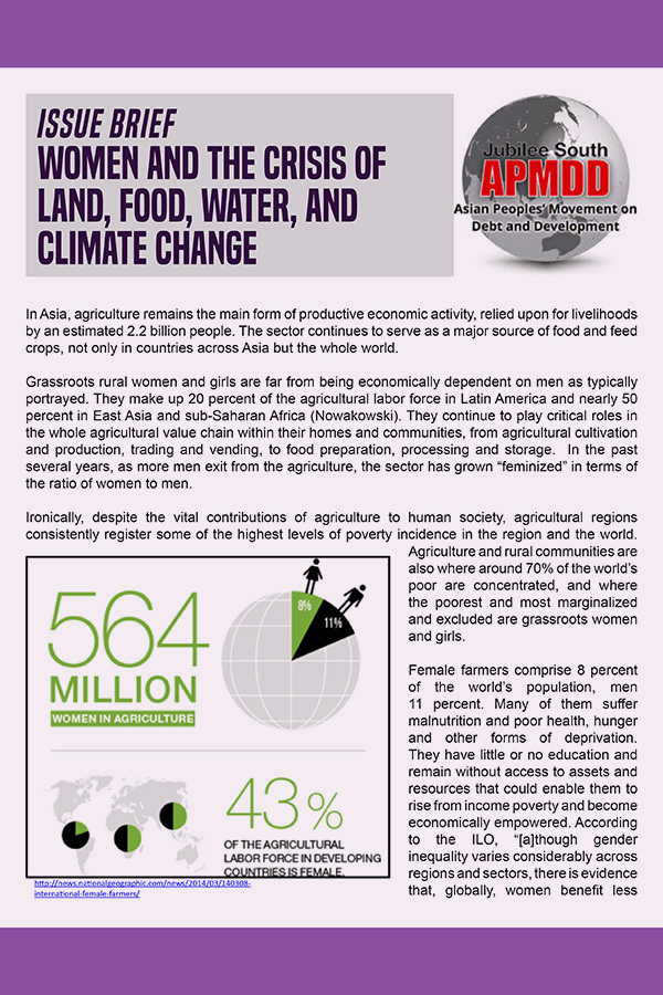 Women and the crisis of land, food, water, and climate change